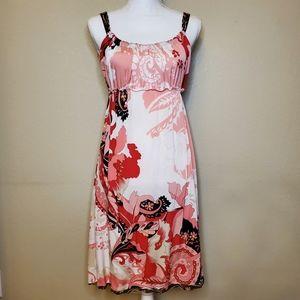 ELIE TAHARI Silk pink floral dress empire waist s6